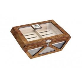Glass humidor Prisma elm burl mat with lock - digital higro
