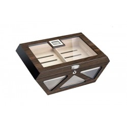 Glass humidor Prisma walnut polished with lock - digital higro