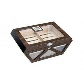 Humidor vetro Prisma in noce lucido con serratura e igrometro digitale