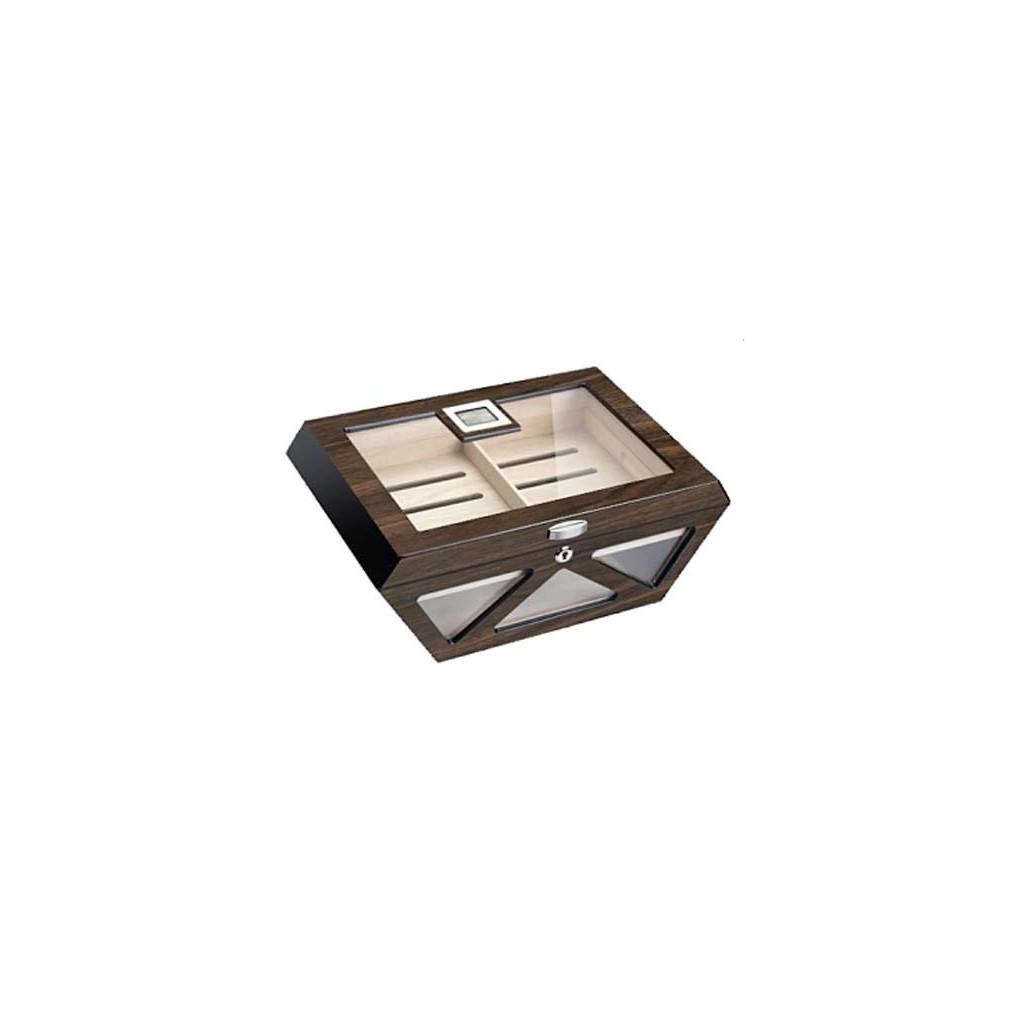 Humidor Prisma de vidrio pulido de nogal con cerradura y higrómetro digital