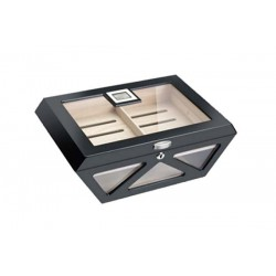 Glass humidor Prisma black laque matt with lock - digital higro