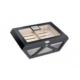 Glass humidor Prisma black laque matt with lock - digital higro