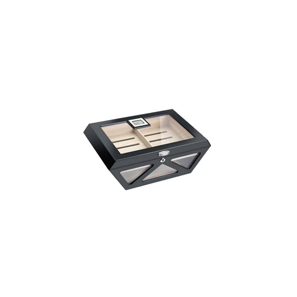 Humidor Prisma de vidrio en laca mate de color negro con cerradura y higrómetro digital