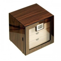 Glass humidor 4 drawers walnut polished