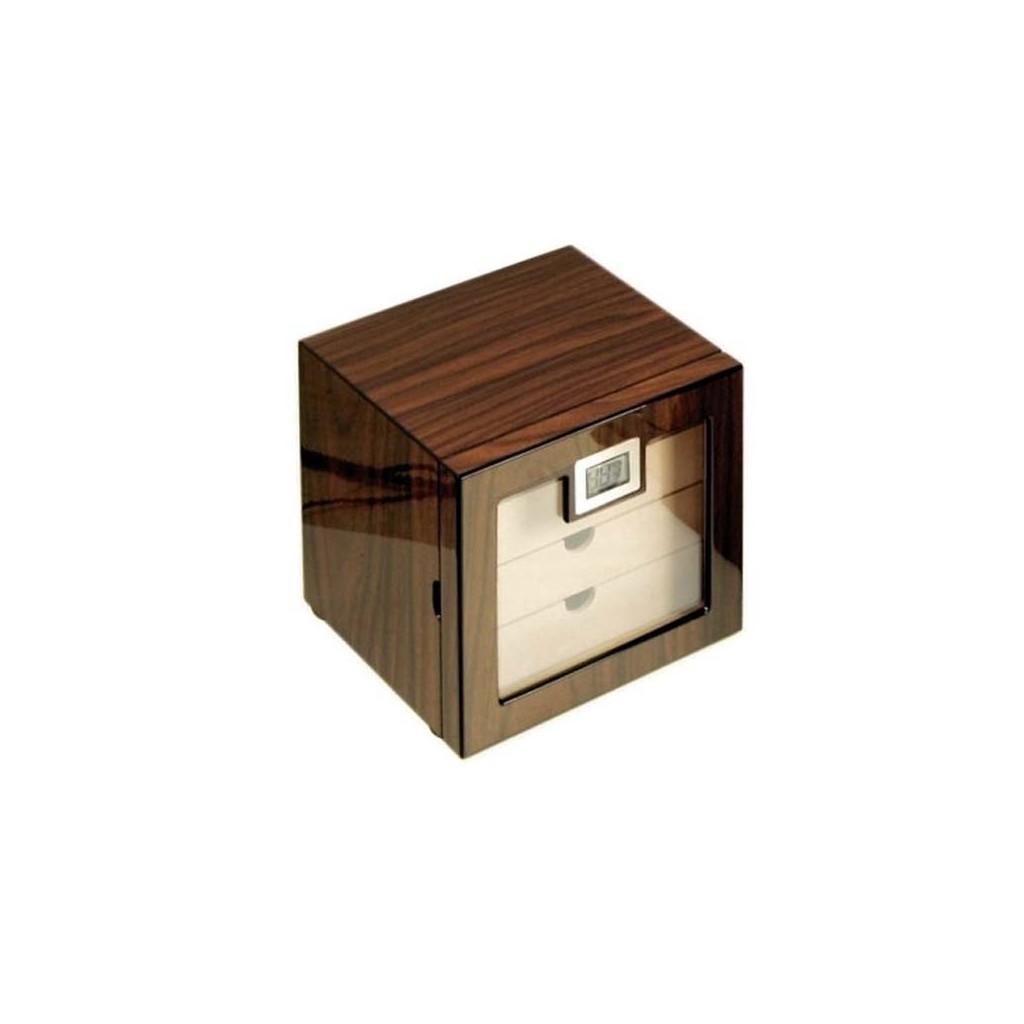 Glass humidor 4 drawers walnut polished
