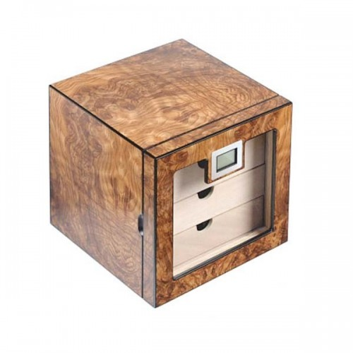 Glass humidor 4 drawers elm burl matte