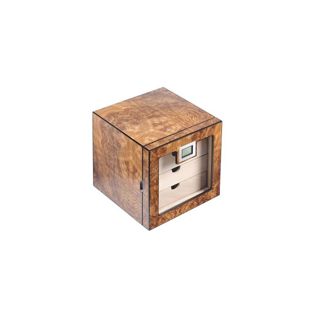 Mobiletto per sigari in radica di olmo opaca con 4 casetti e igrometro digitale