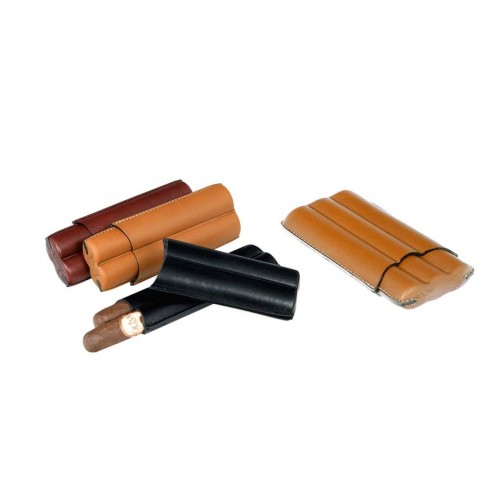 Leather cigar case for 2-3 Toro