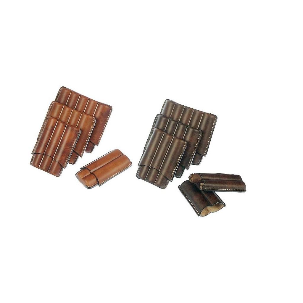 Fingered leather cigar case for 2-3-4-5 Half Toscano