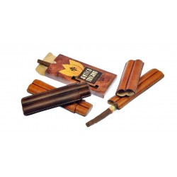Fingered leather cigar case for 2 Toscano cigar