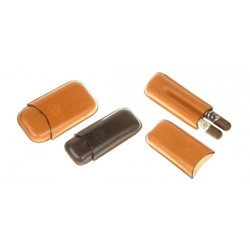 Leather cigar case for 2-3 Robusto