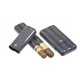 Portasigari in fibra di carbonio e titanio blu per 2-3 sigari - ring 60