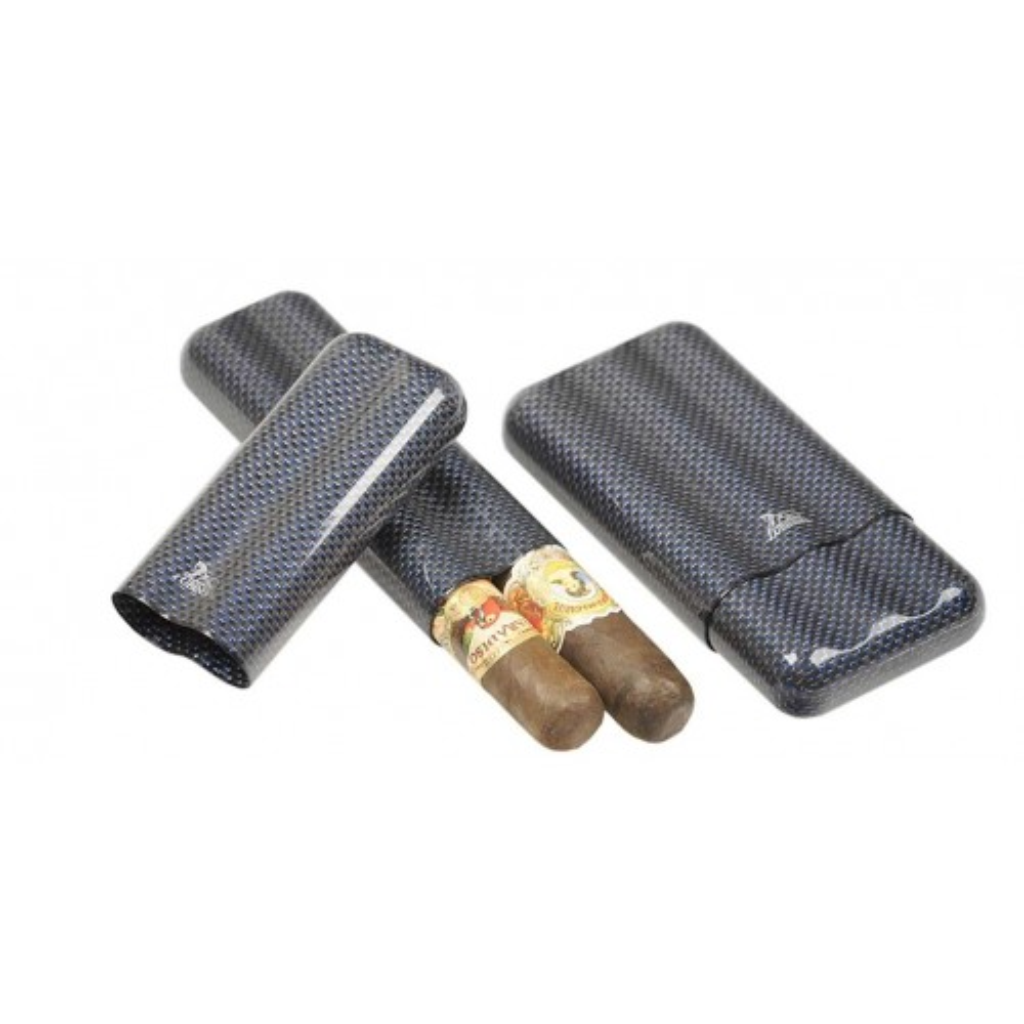 Carbon Fiber & Blue Titan cigar case for 2-3 cigars ring 60