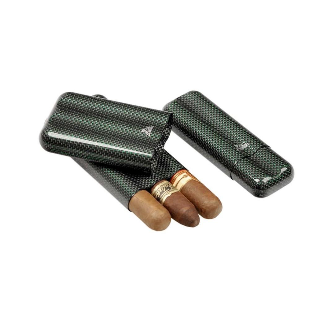 Portasigari in fibra di carbonio e titanio verde per 2-3 sigari - ring 60