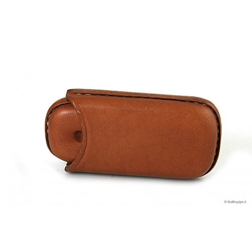 Leather sewn by hand cigar case for 2 half toscano - Tan