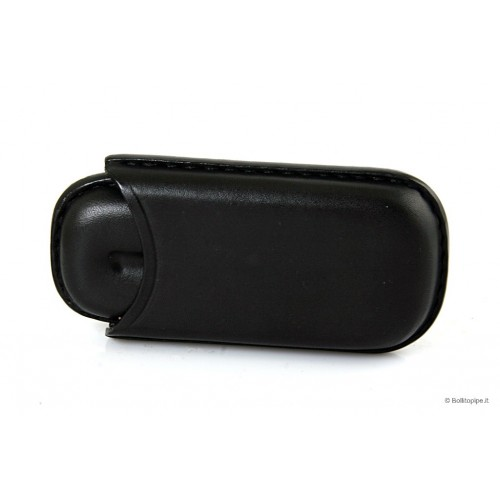 Leather sewn by hand cigar case for 2 half toscano - Black