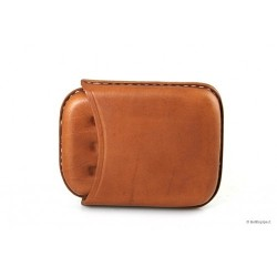 Leather sewn by hand cigar case for 4 half toscano - Tan