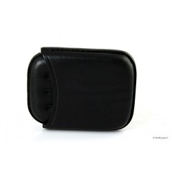 Leather sewn by hand cigar case for 4 half toscano - Black