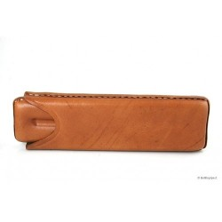 Leather sewn by hand cigar case for 2 Toscano - Tan