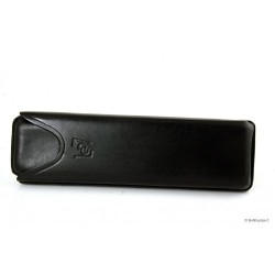 Leather sewn by hand cigar case for 2 Toscano - Black