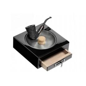 Posacenere battipipa lacca nera lucida con cassetto