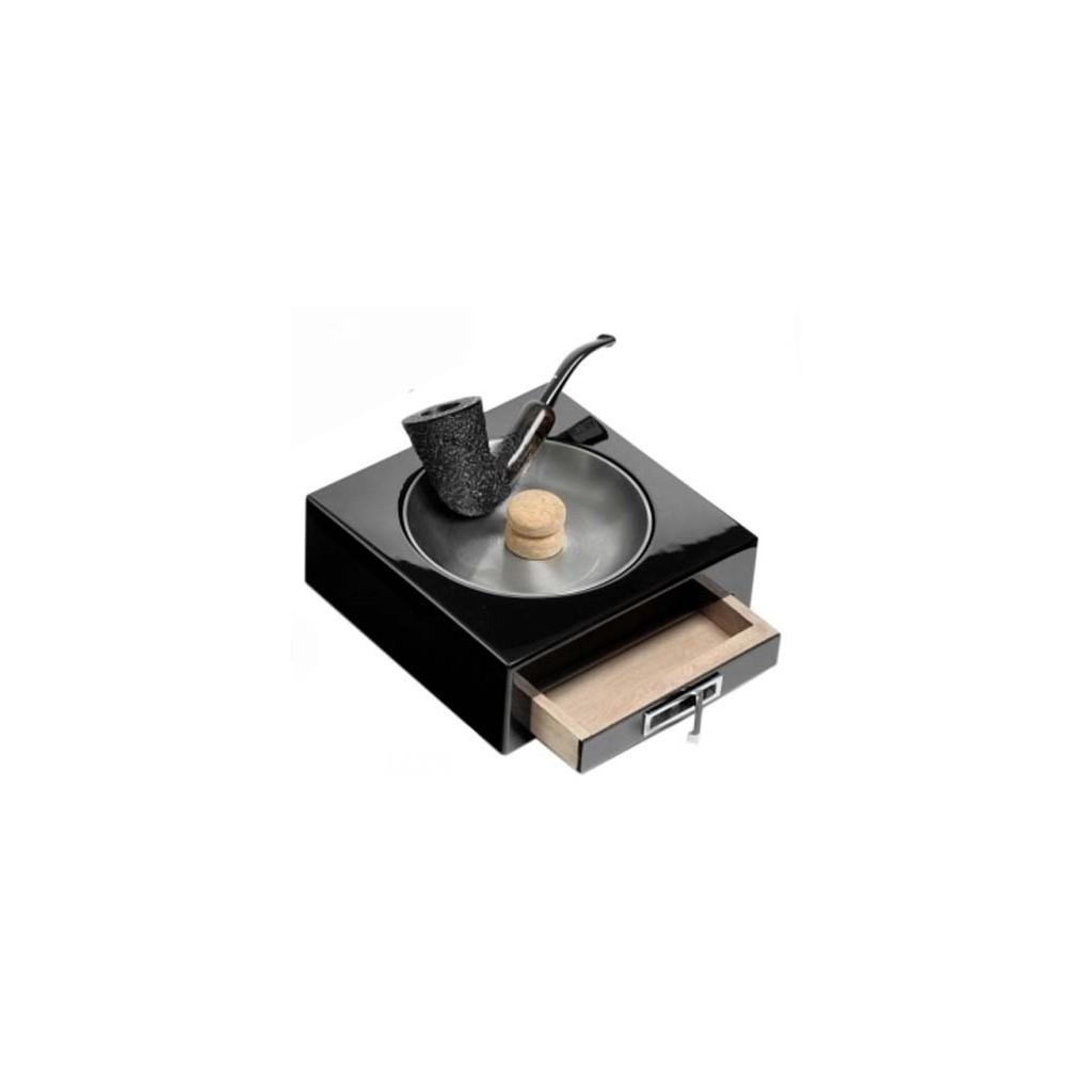 Cendrier à pipe en laque noire avec tiroir