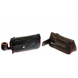 2 zip Colombian buffalo leather pouch for pipe, tobacco and accessories