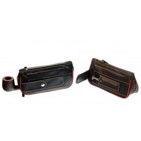 Bolsa en piel de búfalo colombiano para pipas, tabaco y accessorios, 2 zip y bolsillo