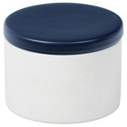 Cylindrical Ceramic Tobacco jar - White/Blue
