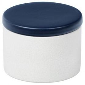 Pot en céramique cylindrique - Blanc et Bleu