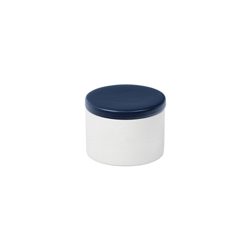 Vaso porta tabacco cilindrico in ceramica - Bianco/Blu