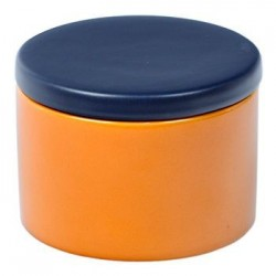 Cylindrical Ceramic Tobacco jar - Yellow/Blue