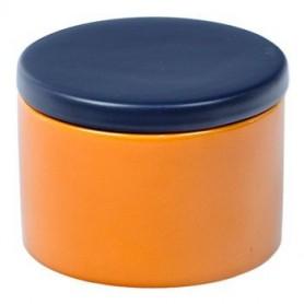 Vaso porta tabacco cilindrico in ceramica - Giallo/Blu