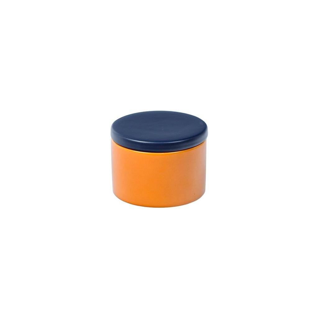 Cylindrical Ceramic Tobacco jar - Yellow/Blue