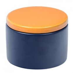 Cylindrical Ceramic Tobacco jar - Blue/Yellow