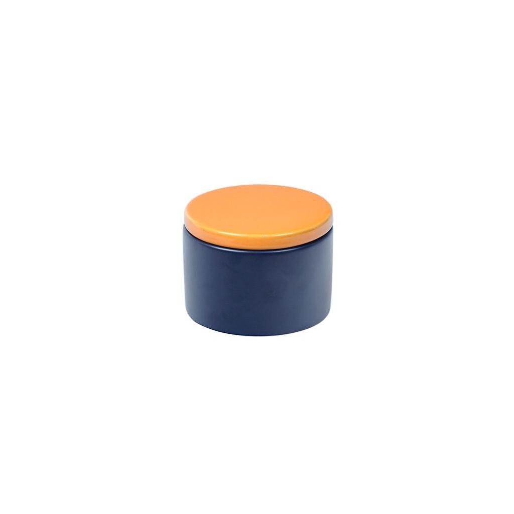 Vaso porta tabacco cilindrico in ceramica - Blu/Giallo