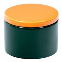 Cylindrical Ceramic Tobacco jar - Green/Yellow