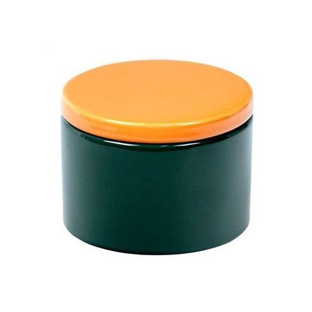 Cylindrical Ceramic Tobacco jar - Green/Yellow