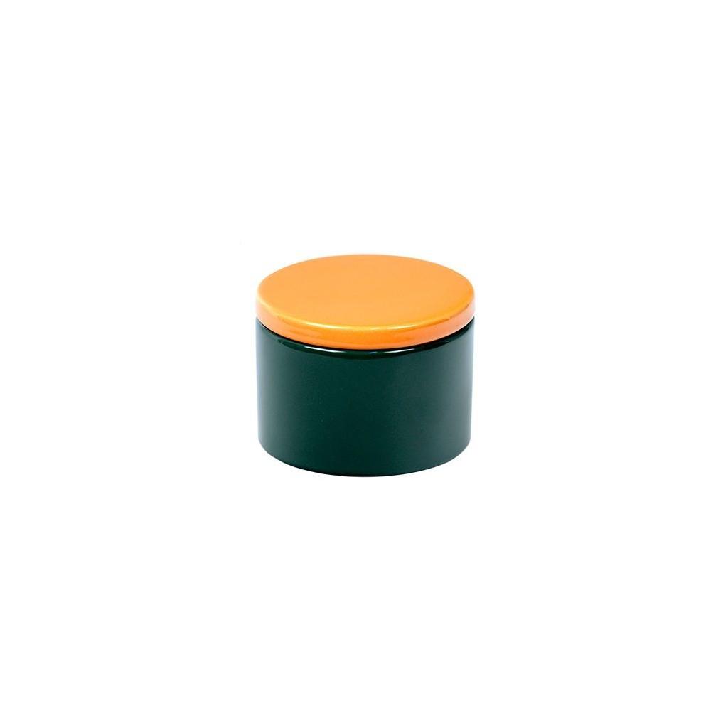 Vaso porta tabacco cilindrico in ceramica - Verde/Giallo