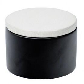 Vaso porta tabacco cilindrico in ceramica - Nero/Bianco