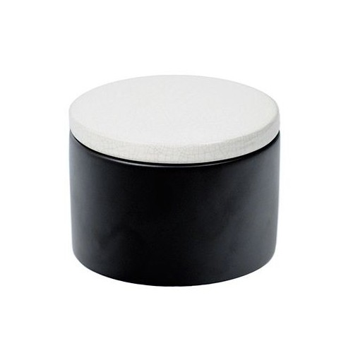 Cylindrical Ceramic Tobacco jar - Black/White