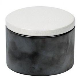 Pot en céramique cylindrique - Gris et Blanc