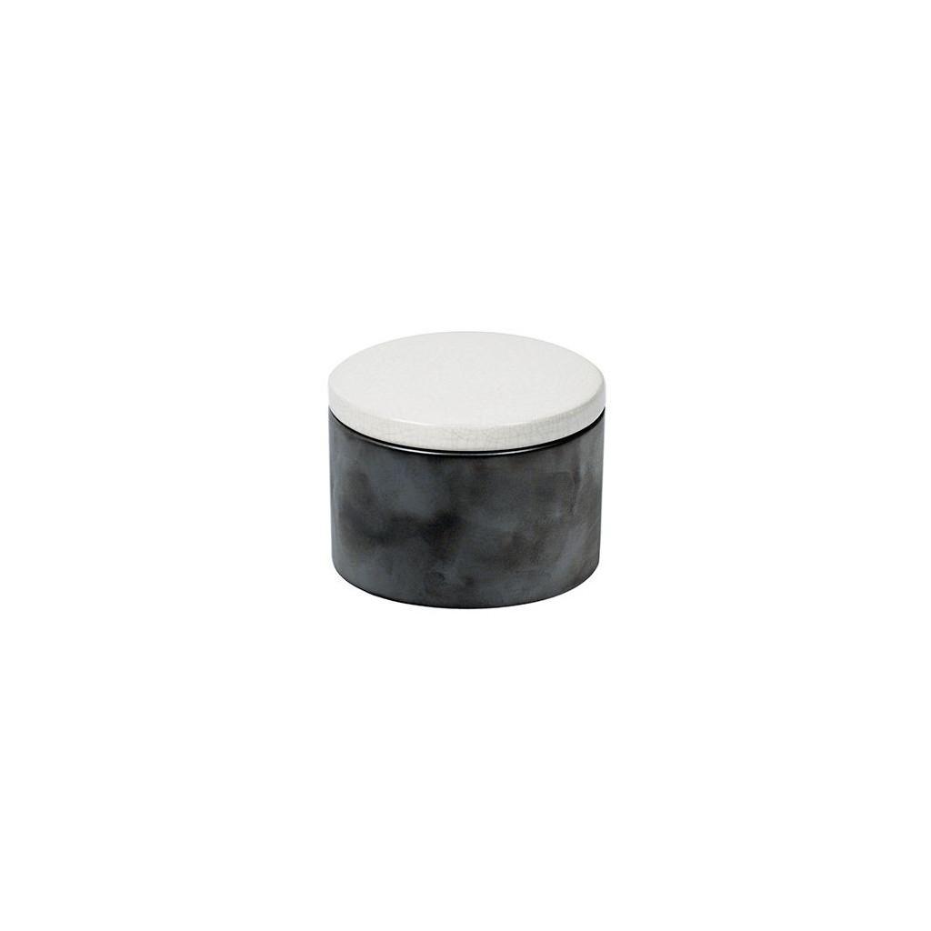 Cylindrical Ceramic Tobacco jar - Grey/White