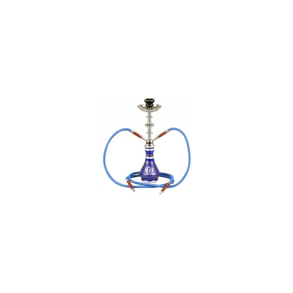 Shisha pipe h. 48 cm - 2 Hole - Silver & Blue