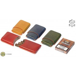 Harlequin leather cigar case for 4 half-toscano cigars