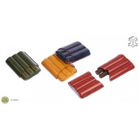 Harlequin leather cigar case for 4 half-toscano cigars