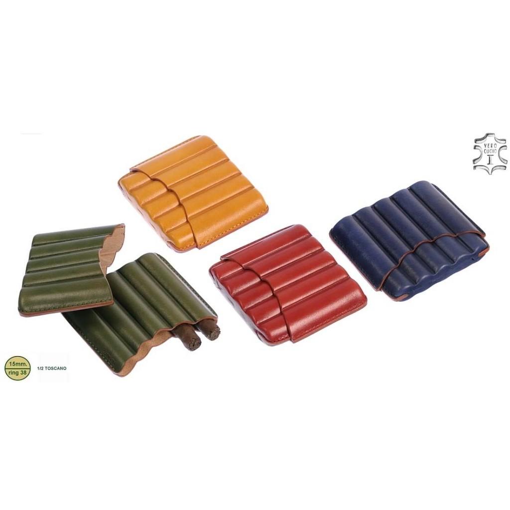 Harlequin leather cigar case for 5 half-toscano cigars