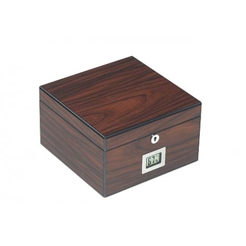 Cube humidor elm mat with lock and digital higro