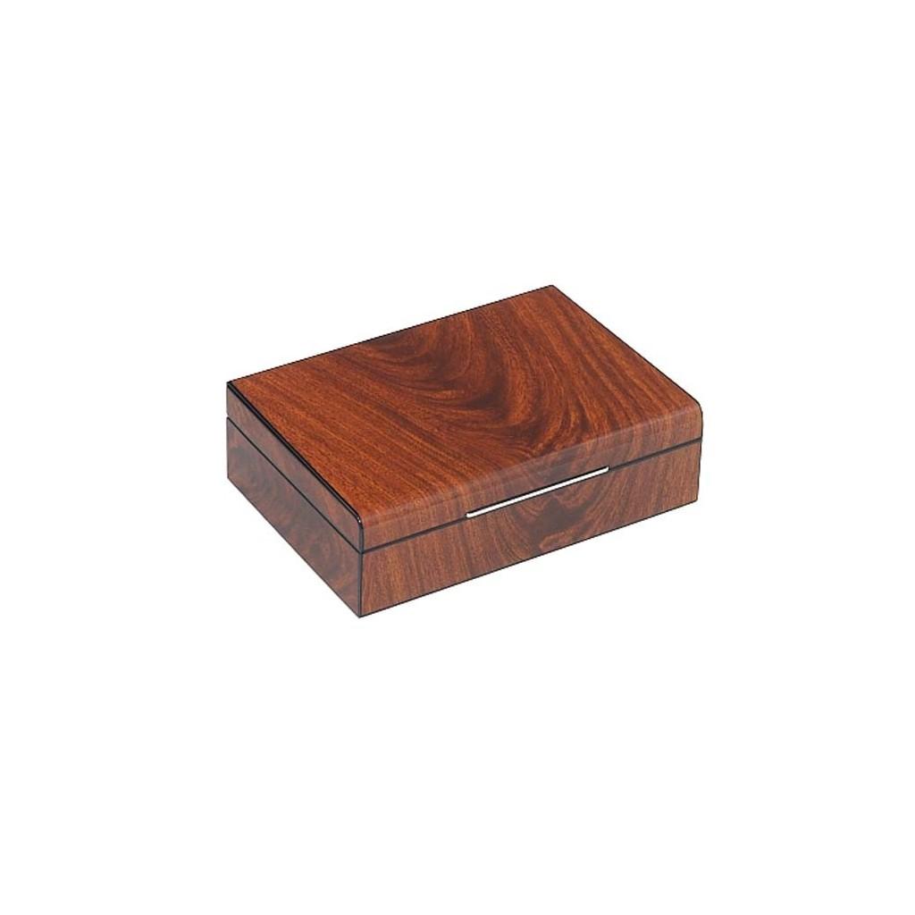 Rounded humidor mahogany rib polished and digital higro
