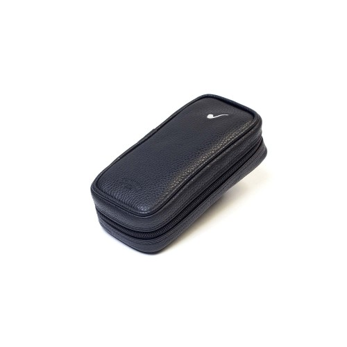 Leather pouch for 3 pipes and accessories - Black